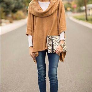 Camel turtleneck shawl or poncho